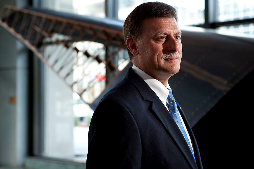 Gary Doernhoefer, General Counsel for the Legal Servoces department of International Air Transport Association, photographed at Montreal's Tour De La Bourse. PHOTO BY TIM SNOW