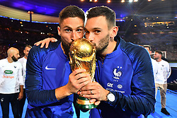 September 9, 2018 - Paris, France - Hugo Lloris, Olivier Giroud of France celebrate with the World Cup Trophy after the UEFA Nations League A group official match between France and Netherlands at Stade de France on September 9, 2018 in Paris, France. This is the first match of the French football team at the Stade de France since their victory in the final of the World Cup in Russia. (Credit Image: © Mehdi Taamallah/NurPhoto/ZUMA Press)