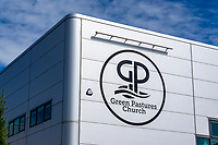 Green Pastures Church, Galgorm, Ballymena, N Ireland, UK, signage, 201909131492<br /><br />Copyright Image from Victor Patterson, Belfast, UK<br /><br />t: +44 28 9066 1296 (from Rep of Ireland 048 9066 1296)<br />m: +44 7802 353836<br /><br />victorpattersonbelfast@gmail.com<br />www.victorpatterson.com<br /><br />Please see my Terms and Conditions of Use at https://www.victorpatterson.com/page2<br />It is IMPORTANT that you familiarise yourself with them.<br /><br />Images used online incur an additional cost and must be visibly watermarked i.e. © Victor Patterson within the body of the image and copyright metadata must not be deleted. Images used on the Internet have a size restriction of 4kbs and are chargeable at rates available at victorpatterson.com.<br /><br />This image is only available for the use of the download recipient i.e. television station, newspaper, magazine, book publisher, etc, and must not be passed on to any third party. It is also downloaded on condition that each and every subsequent usage is notified within 7 days to victorpattersonbelfast@gmail.com<br /><br />The right of Victor Patterson to be identified as the author is asserted in accordance with The Copyright Designs And Patents Act (1988). All moral rights are asserted.