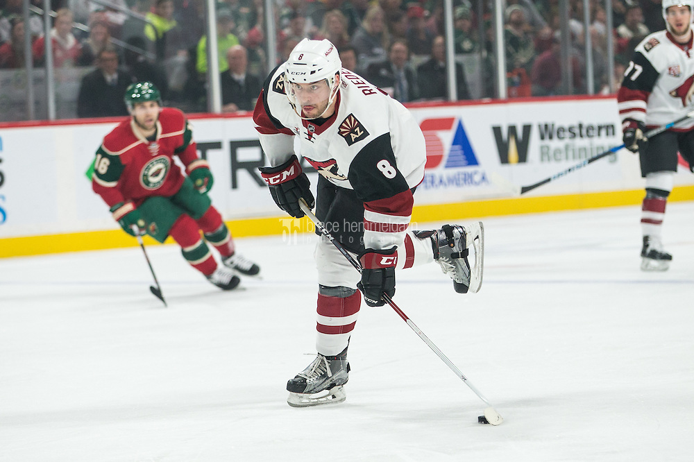 Dec 17, 2016; Saint Paul, MN, USA; Arizona Coyotes forward Tobias Rieder (8) against the Minnesota Wild at Xcel Energy Center. The Wild defeated the Coyotes 4-1. Mandatory Credit: Brace Hemmelgarn-USA TODAY Sports