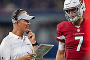 ARLINGTON, TX - AUGUST 26:  Offensive Coordinator Mike McCoy talks with Mike Glennon #7 of the Arizona Cardinals during a game against the Dallas Cowboys at AT&T Stadium during week 3 of the preseason on August 26, 2018 in Arlington, Texas.  The Cardinals defeated the Cowboys 27-3.  (Photo by Wesley Hitt/Getty Images) *** Local Caption *** Mike Glennon; Mike McCoy