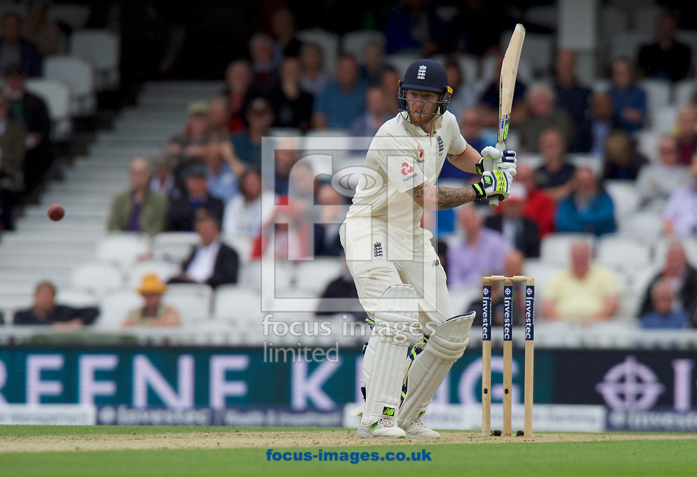 Ben Stokes of England prepares to hit the ball during the 100th Investec Test Match match at the Kia Oval, London<br /> Picture by Alan Stanford/Focus Images Ltd +44 7915 056117<br /> 28/07/2017