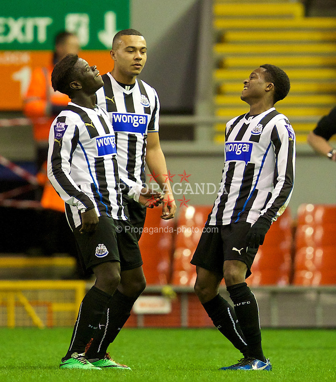 LIVERPOOL, ENGLAND - Friday, March 21, 2014: Newcastle United's Rolando Aarons celebrates scoring the second goal against Liverpool during the Under 21 FA Premier League match at Anfield. (Pic by David Rawcliffe/Propaganda)