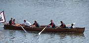 London, Great Britain, Traditional Clinker Boat, having raced the Championship course, approaches Chiswick Bridge. The BNY Mellon Men's Boat Race and The Newton Women's Boat race and the reserve races Mortlake. ENGLAND. <br /> <br /> 15:03:24  Saturday  11/04/2015<br /> <br /> [Mandatory Credit; Intersport-images]