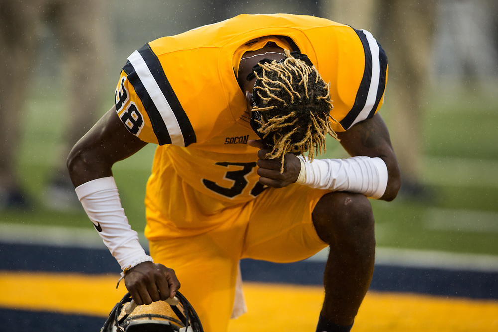September 2, 2017 - Johnson City, Tennessee - William B. Greene Jr. Stadium: ETSU defensive back Karon Delince (38)<br /> <br /> Image Credit: Dakota Hamilton/ETSU