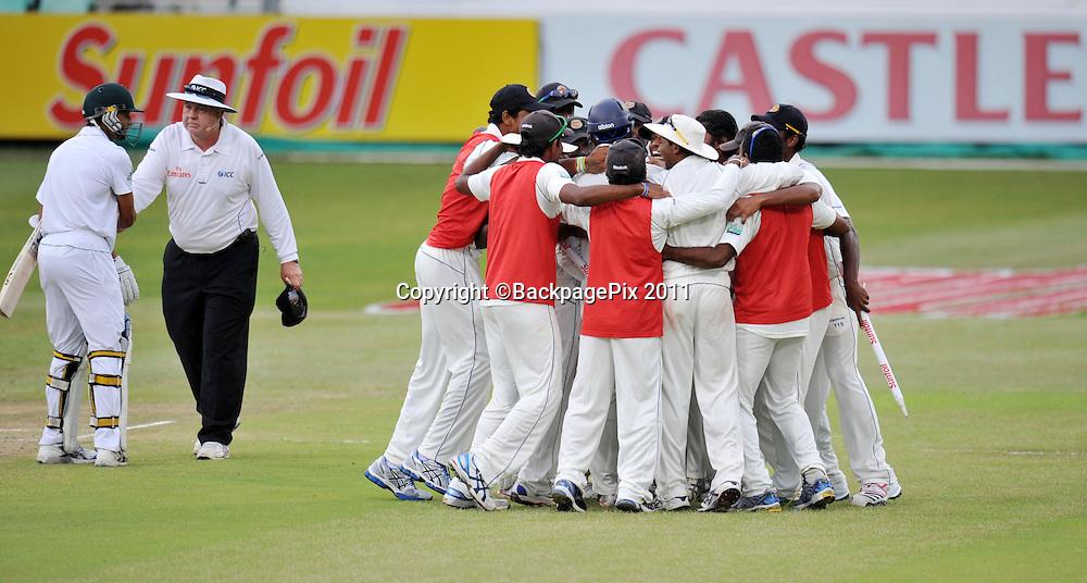 Sri Lanka celebrates winning the match by 208 runs <br /> <br /> &copy; Sabelo Mngoma/BackpagePix