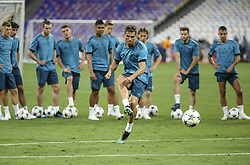 May 25, 2018 - Kiev, Ukraine - Real Madrid's Portuguese forward Cristiano Ronaldo kicks the ball during their training session for UEFA Champions League Final against Liverpool FC at NSC Olimpiyskyi in Kyiv, Ukraine, May 25, 2018. UEFA Champions League Final  (Credit Image: © Sergii Kharchenko/NurPhoto via ZUMA Press)
