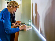 26 APRIL 2019 - TIPTON, IOWA: Sen. ELIZABETH WARREN (D-MA) signs books for supporters after a campaign appearance in the Tipton Family Restaurant. Sen. Warren is campaigning in eastern Iowa Friday. Iowa traditionally hosts the the first selection event of the presidential election cycle. The Iowa Caucuses will be on Feb. 3, 2020.     PHOTO BY JACK KURTZ