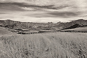 Drakensberg Mountains, South Africa.  (sepia monochrome)
