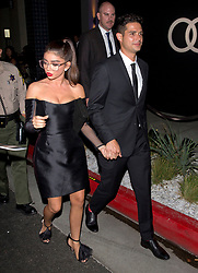 'Modern Family' star, Sarah Hyland and her boyfriend Wells Adam were seen leaving the 'Audi' Pre-Emmy Party at the Lapeer Hotel in West Hollywood, CA. 15 Sep 2018 Pictured: Sarah Hyland, Wells Adam. Photo credit: MEGA TheMegaAgency.com +1 888 505 6342