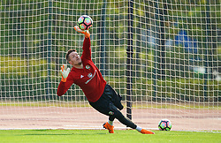 NANNING, CHINA - Wednesday, March 21, 2018: Wales' goalkeeper Wayne Hennessey during a training session at the Guangxi Sports Centre ahead of the opening 2018 Gree China Cup International Football Championship match against China. (Pic by David Rawcliffe/Propaganda)