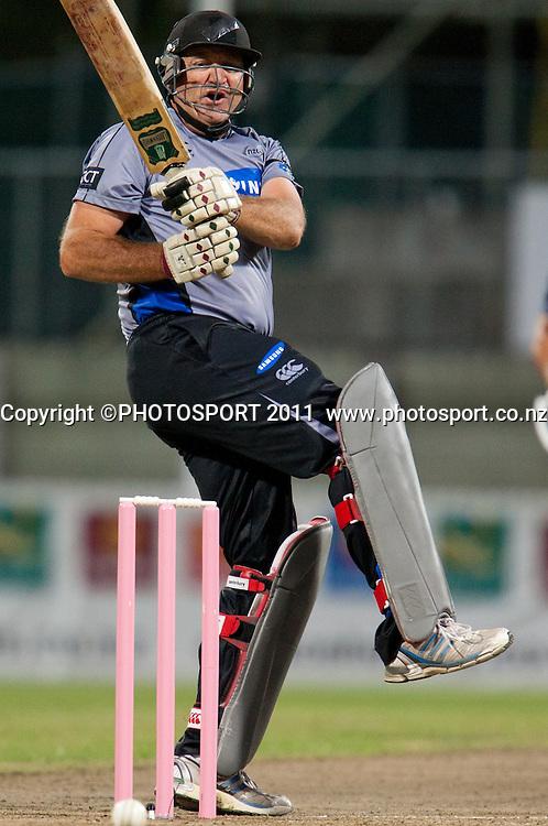 Mark Greatbatch bats during the Titans International Twenty20 Cricket, Samsung NZCPA Masters XI v Australia, Seddon Park, Hamilton, New Zealand, Thursday 24 February 2011. Photo: Stephen Barker/PHOTOSPORT
