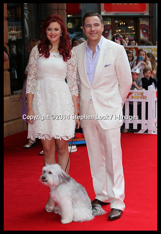 Image licensed to i-Images Picture Agency. 13/07/2014. London, United Kingdom. David Walliams with Ashleigh and Pudsey at the World premiere of Pudsey The Dog : The Movie in London. Picture by Stephen Lock / i-Images