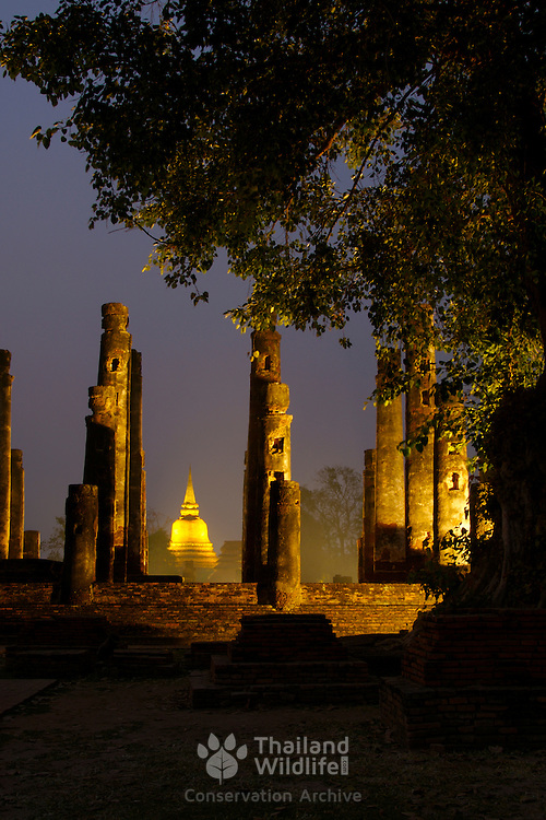 Wat Mahathat and Wat Chana Songkhram at sunset in Sukhothai. The Sukhothai kingdom was an early Thai kingdom in north central Thailand. It existed from during the 13, 14, 15th centuries The.old capital is in ruins and is a Historical Park..View from Feb, 2007.