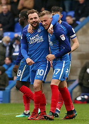 George Cooper of Peterborough United (right) celebrates scoring his goal with team-mate Danny Lloyd - Mandatory by-line: Joe Dent/JMP - 28/04/2018 - FOOTBALL - ABAX Stadium - Peterborough, England - Peterborough United v Fleetwood Town - Sky Bet League One