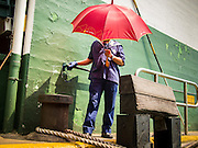 """10 AUGUST 2013 - HONG KONG: A Star Ferry worker walks along the edge of the Star Ferry pier on the Kowloon side of Victoria Harbor. The Star Ferry, or The """"Star"""" Ferry Company, is a passenger ferry service operator and tourist attraction in Hong Kong. Its principal routes carry passengers across Victoria Harbour, between Hong Kong Island and Kowloon. It was founded in 1888 as the Kowloon Ferry Company, adopting its present name in 1898.<br /> The fleet of twelve ferries currently operates two routes (four prior to April 1, 2011) across the harbour, carrying over 70,000 passengers a day, or 26 million a year. Even though the harbour is crossed by railway and road tunnels, the Star Ferry continues to provide an inexpensive mode of harbour crossing. The company's main route runs between Central and Tsim Sha Tsui. Hong Kong is one of the two Special Administrative Regions of the People's Republic of China, Macau is the other. It is situated on China's south coast and, enclosed by the Pearl River Delta and South China Sea, it is known for its skyline and deep natural harbour. Hong Kong is one of the most densely populated areas in the world, the  population is 93.6% ethnic Chinese and 6.4% from other groups. The Han Chinese majority originate mainly from the cities of Guangzhou and Taishan in the neighbouring Guangdong province.      PHOTO BY JACK KURTZ"""