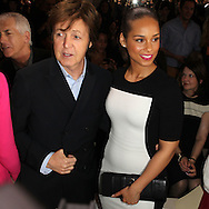 PARIS, FRANCE - MARCH 05:  Paul McCartney and Alicia Keys attend the Stella McCartney Ready-To-Wear Fall/Winter 2012 show as part of Paris Fashion Week on March 5, 2012 at the Hotel de Ville in Paris, France.  (Photo by Tony Barson/WireImage)
