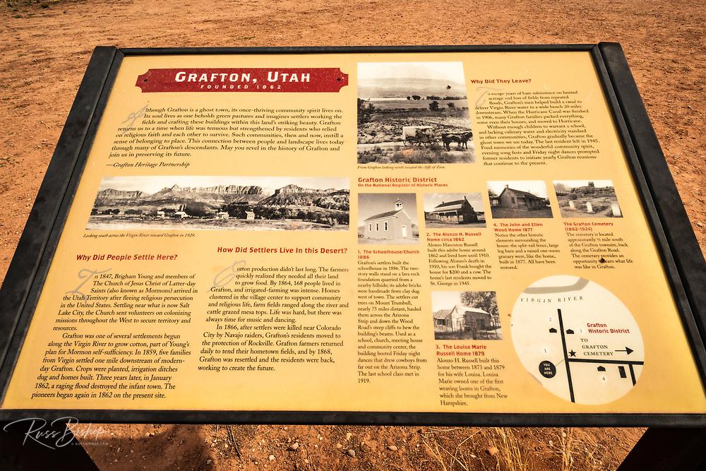 Interpretive sign, Grafton ghost town, Utah USA