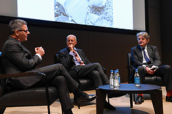 "© Licensed to London News Pictures. 23/05/2017. London, UK.   (L to R) Pierre Raniero, Image Style Heritage Director, Lord Norman Foster and Design Museum director Deyan Sudjic.  Press preview of ""Cartier in Motion"", an exhibition on Cartier,  co-curated by celebrated architect Lord Norman Foster and Design Museum director Deyan Sudjic, at the Design Museum in London.   The exhibition runs from 25 May to 28 July 2017. Photo credit : Stephen Chung/LNP"