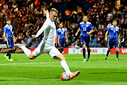 Cauley Woodrow of England U21 fires a shot at goal  - Mandatory byline: Matt McNulty/JMP - 07966386802 - 03/09/2015 - FOOTBALL - Deepdale Stadium -Preston,England - England U21 v USA U23 - U21 International