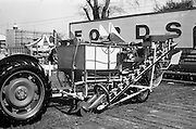 """29/04/1962<br /> 04/29/1962<br /> 29 April 1962<br /> Farm machinery at the R.D.S. Spring Show, Ballsbridge Dublin, feature with Julian Bayley for Farming Express. Image shows an """"Armagh"""" beet harvester."""
