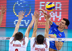 Alen Sket #5 during volleyball match between National teams of Poland and Slovenia in Quarterfinals of 2015 CEV Volleyball European Championship - Men, on October 14, 2015 in Arena Armeec, Sofia, Bulgaria. Photo by Ronald Hoogendoorn / Sportida