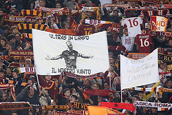 May 27, 2019 - Rome, Italy - 27.05.2019. Stadio Olimpico, Rome, Italy. Serie A. Daniele De Rossi flag on the stands  in  the match Italy Serie A league, As Roma vs Parma, DANiELE DE ROSSI last match,  at Stadio Olimpico in Rome. (Credit Image: © Marco Iacobucci/IPA via ZUMA Press)