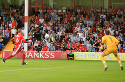 Jordan Amavi of Aston Villa gets a free header but puts it straight at Mark Gillespie of Walsall - Mandatory by-line: Paul Roberts/JMP - 18/07/2017 - FOOTBALL - Bescot Stadium - Walsall, England - Walsall v Aston Villa -  Pre-season friendly