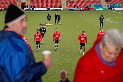 Bristol City supporters look on during the warm up - Photo mandatory by-line: Rogan Thomson/JMP - 07966 386802 - 20/12/2014 - SPORT - FOOTBALL - Crewe, England - Alexandra Stadium - Crewe Alexandra v Bristol City - Sky Bet League 1.