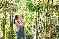 Woman examining leaves at garden center