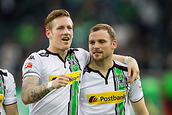 03.04.2016, Stadion im Borussia Park, Moenchengladbach, GER, 1. FBL, Borussia Moenchengladbach vs Hertha BSC, 28. Runde, im Bild Andre Hahn (Borussia Moenchengladbach #28) und Tony Jantschke (Borussia Moenchengladbach #24) nach dem Spiel // during the German Bundesliga 28th round match between Borussia Moenchengladbach and Hertha BSC at the Stadion im Borussia Park in Moenchengladbach, Germany on 2016/04/03. EXPA Pictures © 2016, PhotoCredit: EXPA/ Eibner-Pressefoto/ Schueler - Pressefoto<br /> <br /> *****ATTENTION - OUT of GER*****