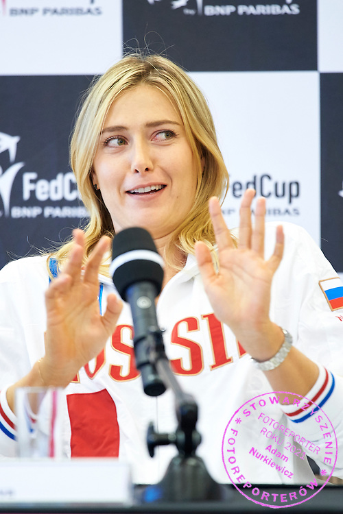 Maria Sharapova from Russia speaks during official draw one day before the Fed Cup / World Group 1st round tennis match between Poland and Russia at Holiday Inn on February 6, 2015 in Cracow, Poland.<br /> <br /> Poland, Cracow, February 6, 2015<br /> <br /> Picture also available in RAW (NEF) or TIFF format on special request.<br /> <br /> For editorial use only. Any commercial or promotional use requires permission.<br /> <br /> Adam Nurkiewicz declares that he has no rights to the image of people at the photographs of his authorship.<br /> <br /> Mandatory credit:<br /> Photo by &copy; Adam Nurkiewicz / Mediasport