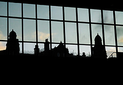 (c) Licensed to London News Pictures. <br /> 03/10/2017<br /> Manchester, UK<br /> <br /> The Midland Hotel is seen through the convention centre windows at the Conservative Party Conference held at the Manchester Central Convention Complex.<br /> <br /> Photo Credit: Ian Forsyth/LNP