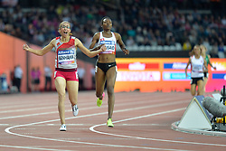 14/07/2017 : Sanaa Benhama (MAR), Somaya Bousaid (TUN), T13, 1500m (Women's) Final, at the 2017 World Para Athletics Championships, Olympic Stadium, London, United Kingdom