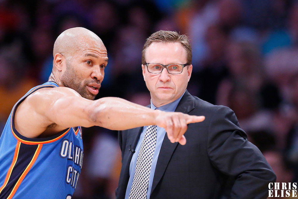09 March 2014: Oklahoma City Thunder point guard Derek Fisher (6) talks to Oklahoma City Thunder head coach Scott Brooks during the Los Angeles Lakers 114-110 victory over the Oklahoma City Thunder at the Staples Center, Los Angeles, California, USA.