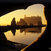 Sea stacks through a driftwood window on Ruby Beach, Olympic National Park, WA, Sept., 2008