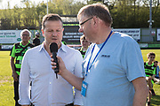 Forest Green Rovers manager, Mark Cooper being interviewed by Bob Hunt during the EFL Sky Bet League 2 match between Forest Green Rovers and Grimsby Town FC at the New Lawn, Forest Green, United Kingdom on 5 May 2018. Picture by Shane Healey.