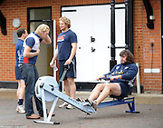 Molesey Surrey.  Ergo Challenge CU RFC vs OU RFC,  Varsity Rugby  Oxford lead by Andy HODGE and Cambridge by Tom JAMES meet at Molesey BC, to compete in  1500m challenge [3 x 500-meters]  Wednesday  11/11/2009 [Mandatory Credit Peter Spurrier/ Intersport Images]  Andy HODGE coaching the Oxford University RFC, Dan ROSEN [CAPT] Ricky LUTTON and Ian KENCH.