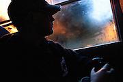 AUBURN, NY – OCTOBER 15, 2010: Richard Gaffney rides the bus to school.