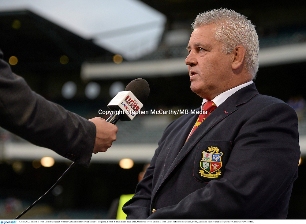 5 June 2013; British & Irish Lions head coach Warren Gatland is interviewed ahead of the game. British & Irish Lions Tour 2013, Western Force v British & Irish Lions, Patterson's Stadium, Perth, Australia. Picture credit: Stephen McCarthy / SPORTSFILE