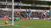 Football - 2016 / 2017 Premier League - Tottenham Hotspur vs. Stoke City<br /> <br /> Harry Kane of Tottenham watches as his shot nestles into the crner of the goal at White Hart Lane.<br /> <br /> COLORSPORT/DANIEL BEARHAM