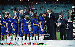BAKU, May 30, 2019  Players of Chelsea attend the awarding ceremony after the UEFA Europa League final match between Chelsea and Arsenal in Baku, Azerbaijan, May 29, 2019. Chelsea won 4-1. (Credit Image: © Tofik Babayev/Xinhua via ZUMA Wire)