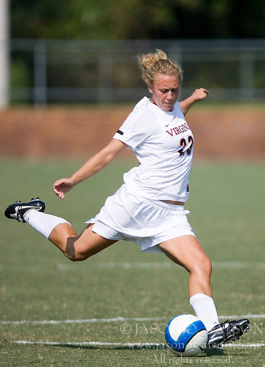 Virginia Cavaliers M/D Nikki Krzysik (23)..The Virginia Cavaliers women's soccer team defeated the William and Mary Tribe 1-0 in double overtime at Klockner Stadium in Charlottesville, VA on September 23, 2007.