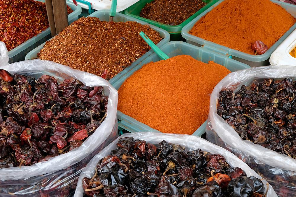 YANGON, MYANMAR - CIRCA DECEMBER 2013: Variety of spices in the street market of Yangon.
