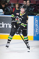 KELOWNA, CANADA - JANUARY 26: Josh Morrissey #10 of the Prince Albert Raiders skates on the ice with the puck during warm up at the Kelowna Rockets on January 26, 2013 at Prospera Place in Kelowna, British Columbia, Canada (Photo by Marissa Baecker/Shoot the Breeze) *** Local Caption ***