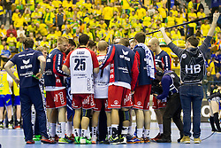 Players of SG Flensburg Handewitt during handball match between RK Celje Pivovarna Lasko (SLO) and SG Flensburg Handewitt (GER) in 12th Round of EHF Men's Champions League 2015/16, on February 20, 2016 in Arena Zlatorog, Celje, Slovenia. Photo by Urban Urbanc / Sportida