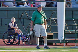 {BLOOMINGTON, IL: Tom Dittmer and daughter during a college football game between the IWU Titans  and the Wheaton Thunder on September 15 2018 at Wilder Field in Tucci Stadium in Bloomington, IL. (Photo by Alan Look)