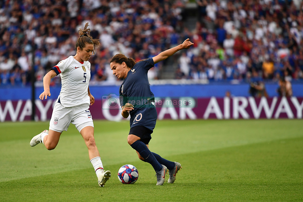 June 28, 2019 - Paris, ile de france, France - Amel MAJRI (FRA)  and Kelley O HARA (USA) in action during the first period of the quarter-final between FRANCE vs USA in the 2019 women's football World cup at Parc des Princes in Paris, on the 28 June 2019. (Credit Image: © Julien Mattia/NurPhoto via ZUMA Press)