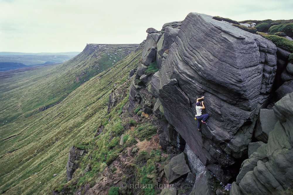 Ben Tetler making the first ascent of Heartthrob, E7 6b, Ashop Edge, Kinder Scout