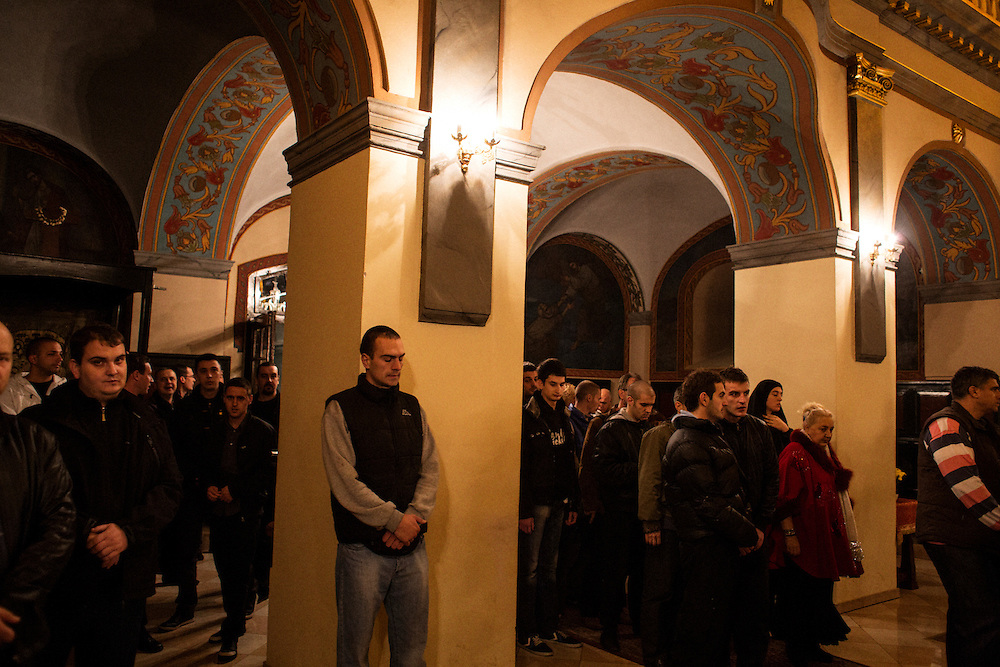 """The Bogorodi?ina Crkva in Zemun hosted the slava for the radical group """"Obraz"""" on Monday November 12. Kristian Kahrs attended as a guest of the organization...Photographed for Plot Magazine."""